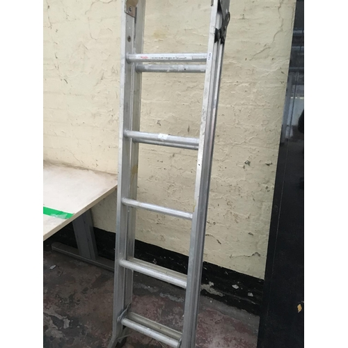 52 - AN ABRU THREE WAY ALUMINIUM WORK LADDER...