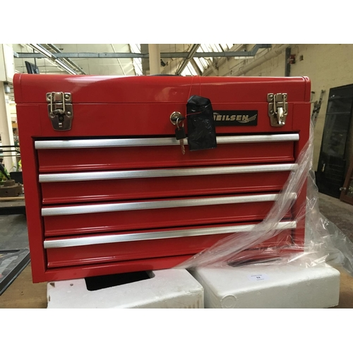 53 - A NEW RED NIELSON PORTABLE STEEL TOOL BOX WITH FOUR DRAWERS AND TWO KEYS (IN OFFICE)...
