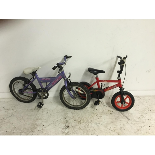 7 - TWO SMALL BMX STYLE BIKES TO INCLUDE A PURPLE SAXON STAR AND A RED KID COOL...
