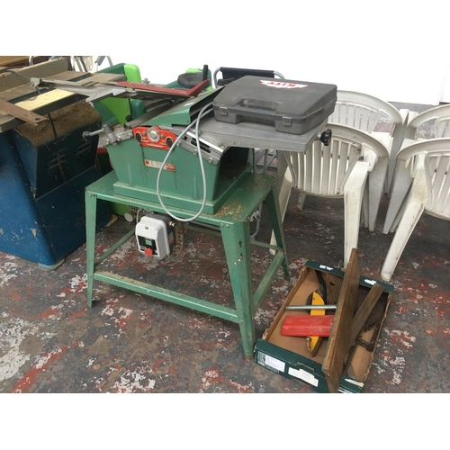 17 - A GREEN KITY MODEL 636 MAINS ELECTRIC PLANER/THICKNESSER TOGETHER WITH A LUTZ DUST EXTRACTOR...