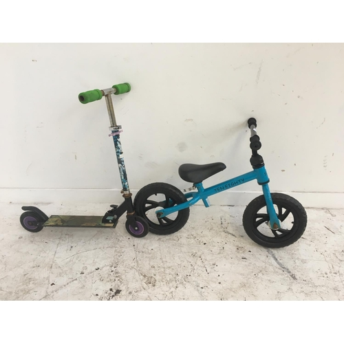 7 - FOUR ITEMS TO INCLUDE A BLUE TEN EIGHTY CHILD'S BALANCE BIKE, TWO WHEELED FOLDING SCOOTER AND TWO TH...
