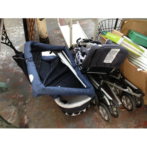 28 - THREE BABY ITEMS TO INCLUDE BABY STYLE PUSH CHAIR, BABY START PLAYPEN AND CARRY COT...
