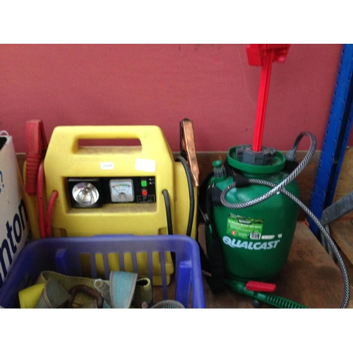 51 - A MIXED LOT TO INCLUDE QUALCAST 5 LITRE PRESSURE SPRAYER WITH LANCE, CAR JUMP STARTER AND THREE BOXE...