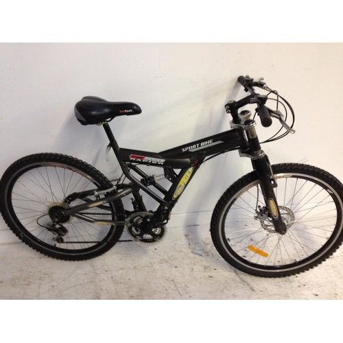8 - A BLACK RAPIER TM SPORT DUAL SUSPENSION MOUNTAIN BIKE WITH FRONT DISC BRAKE, GELTECH SADDLE AND 18 S...