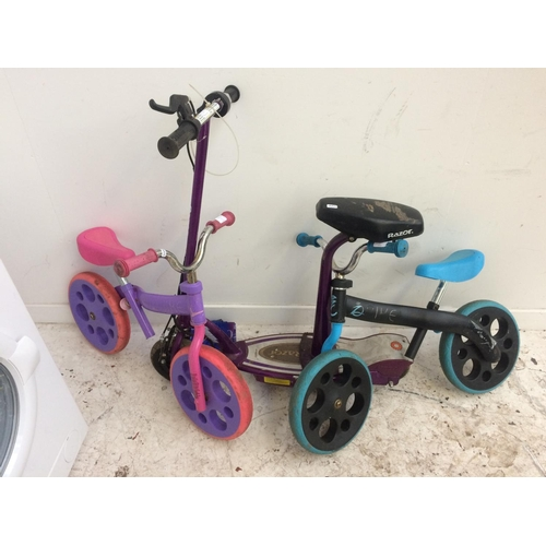 1 - THREE ITEMS TO INCLUDE A PURPLE RAZOR ELECTRIC SCOOTER AND TWO