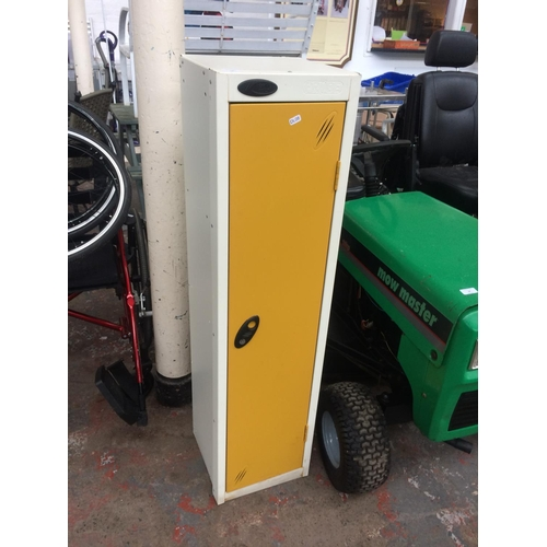17 - A PROBE YELLOW AND WHITE METAL GYM STYLE LOCKER...