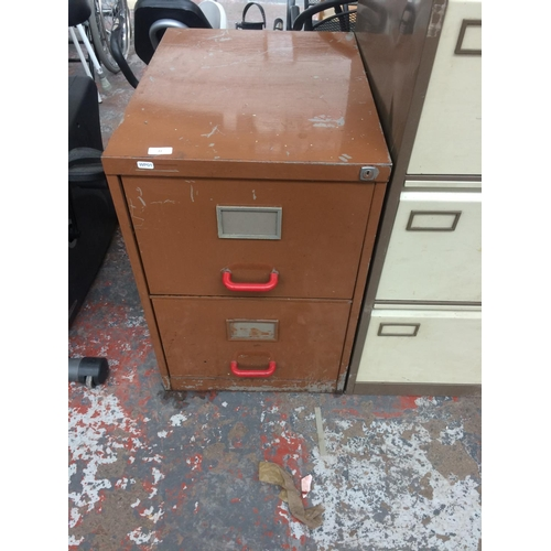 22 - A VINTAGE BROWN METAL TWO DRAWER OFFICE FILING CABINET...