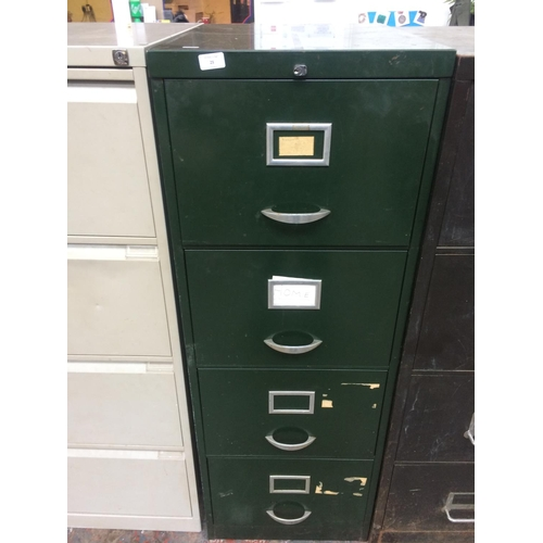 25 - A VINTAGE GREEN METAL FOUR DRAWER OFFICE FILING CABINET...