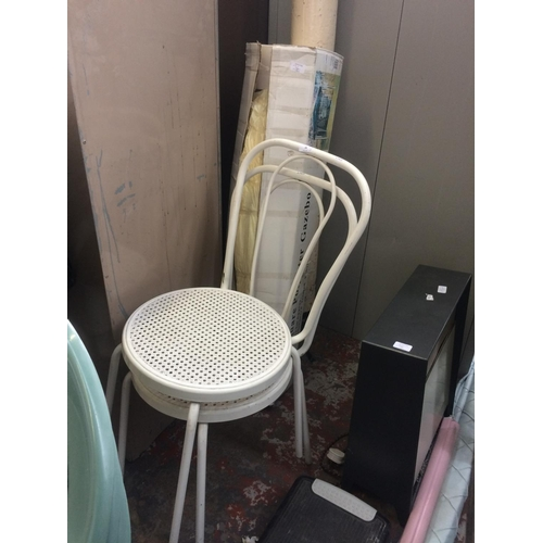 34 - THREE ITEMS TO INCLUDE A PAIR OF WHITE PAINTED METAL CHAIRS AND A BOXED 3m x 3m SQUARE GARDEN GAZEBO...