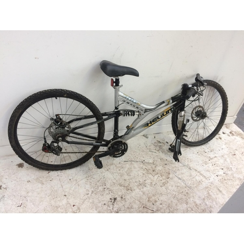 4 - A BLACK AND GREY HELIUM HILL 300X DUAL SUSPENSION GENT'S MOUNTAIN BIKE WITH QUICK RELEASE FRONT WHEE...
