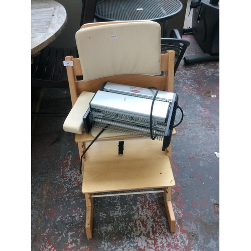 40 - TWO ITEMS TO INCLUDE A CHILD'S WOODEN HIGH CHAIR AND AN EAZYZAP ELECTRIC INSECT TRAP...