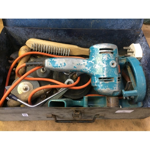 52 - A BLUE METAL BOX CONTAINING A BLACK & DECKER ELECTRIC DRILL AND ACCESSORIES (Model D500)...