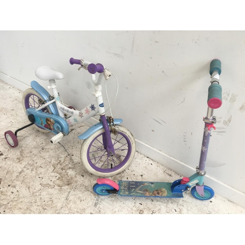 15 - TWO ITEMS TO INCLUDE A WHITE DISNEY FROZEN BMX STYLE BIKE WITH STABILISER AND A PURPLE TWO WHEELED S...