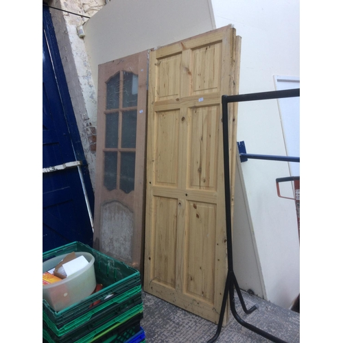 42 - SIX VARIOUS HOUSE DOORS TO INCLUDE PINE PANELLED, GLASS PANELLED ETC....