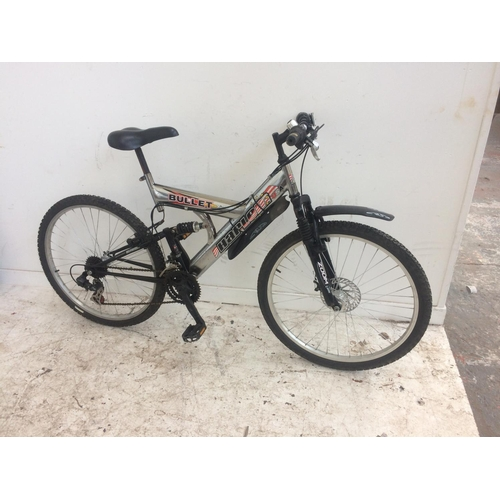 15 - A CHROME HARLEM BULLET DUAL SUSPENSION MOUNTAIN BIKE WITH FRONT DISC BRAKE AND 21 SPEED SHIMANO GEAR...