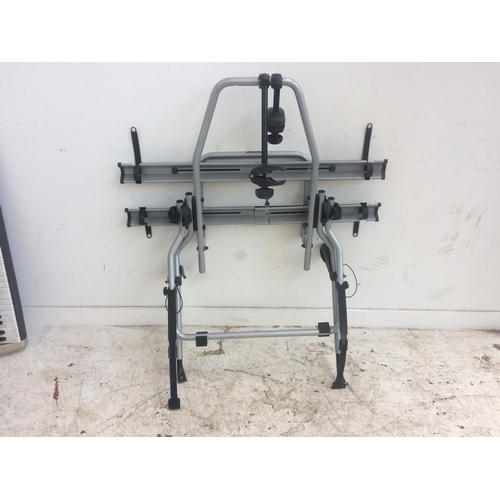 2 - A BLACK AND GREY THULE BOOT AND TOW BAR MOUNTABLE TWIN BICYCLE RACK...