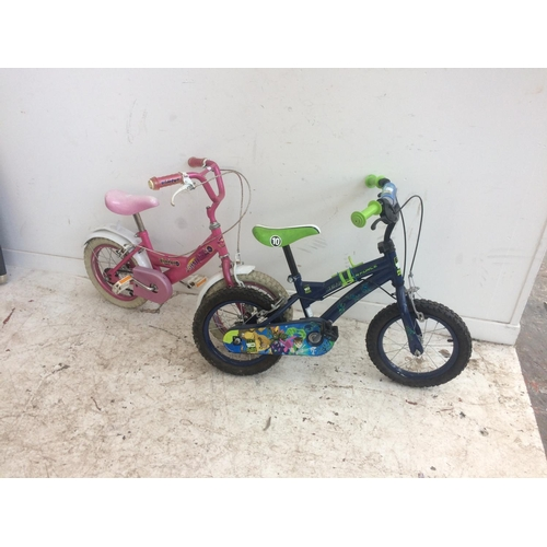 3 - TWO CHILDS BICYCLES TO INCLUDE A BLUE BEN 10 BOYS BMX AND A PINK BUMPER SPARKLE GIRLS BICYCLE...