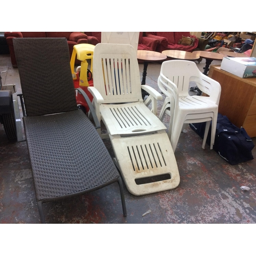 32 - FIVE ITEMS TO INCLUDE A WHITE PLASTIC SUN LOUNGER WITH THREE MATCHING STACKABLE CHAIRS, TOGETHER WIT...