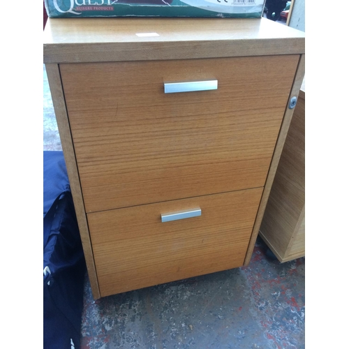 35 - A WOOD EFFECT TWO DRAWER OFFICE FILING CABINET...