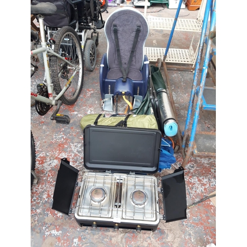 14 - A MIXED LOT OF CAMPING EQUIPMENT TO INCLUDE A BLACK ROYAL CAMPING STOVE WITH 2 BURNERS AND GRILL, BA...