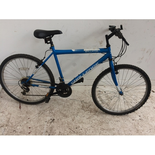 2 - A BLUE AND WHITE CHALLENGE EMULATOR GENTS MOUNTAIN BIKE WITH 18 SPEED GEAR SYSTEM...