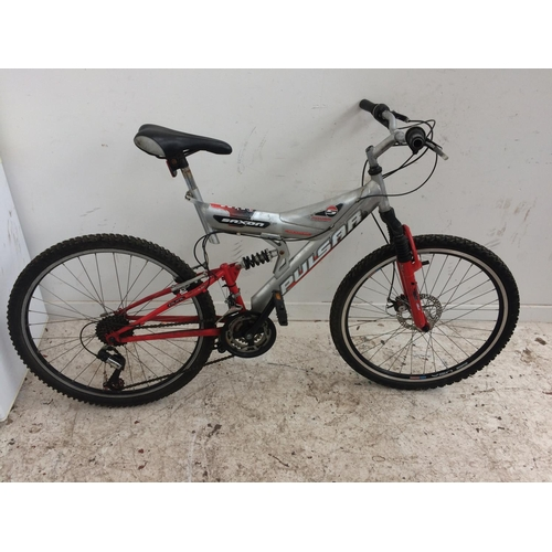3 - A RED AND GREY SAXON PULSAR DUAL SUSPENSION GENTS MOUNTAIN BIKE WITH QUICK RELEASE WHEELS, FRONT DIS...