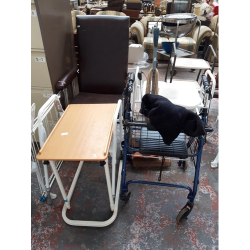 37 - A MIXED LOT TO INCLUDE A BLUE WHEELTECH FOUR WHEELED WALKING AID, BED TABLE, BLACK & DECKER ELECTRIC...
