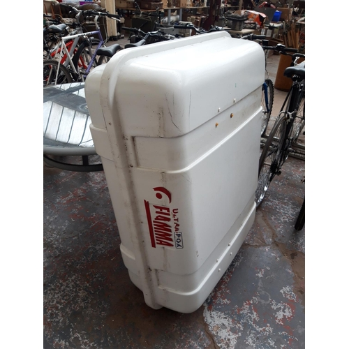 50 - A WHITE FIAMMA VEHICLE ROOF BOX (KEYS IN OFFICE)...