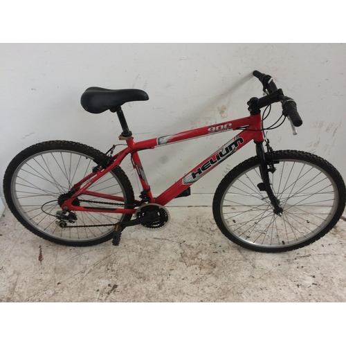 6 - A RED HELIUM HILL 900 GENTS MOUNTAIN BIKE WITH QUICK RELEASE FRONT WHEEL AND 21 SPEED SHIMANO GEAR S...