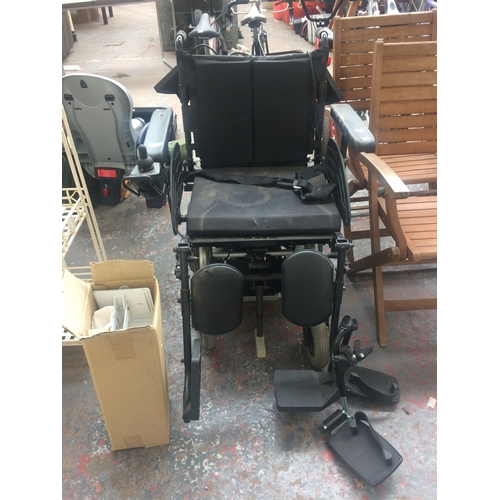 46 - A GREY AND BLACK DAYS ELECTRIC WHEELCHAIR WITH BATTERY AND CHARGER (W/O)...