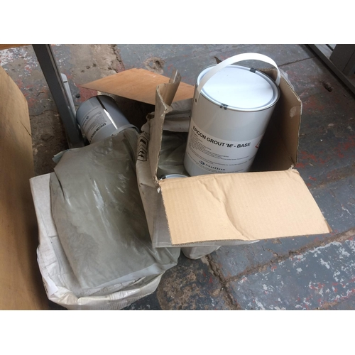 104 - A QUANTITY OF INDUSTRIAL SELF MIX FLOOR GROUT AND HARDENER...