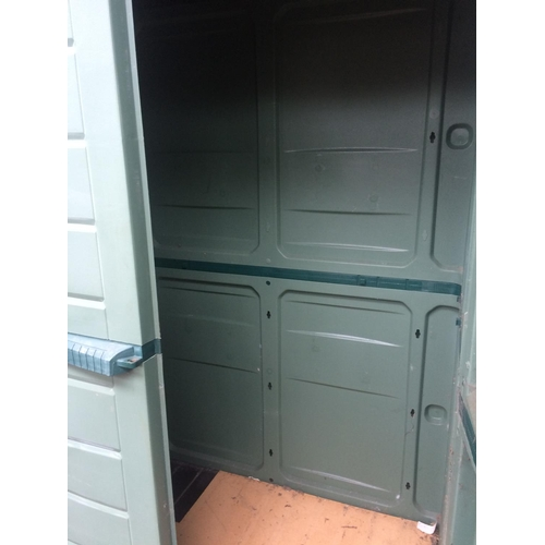 11 - A LARGE TWO TONE GREEN TWO DOOR PLASTIC WORKSHOP CABINET MEASURING APPROX 75