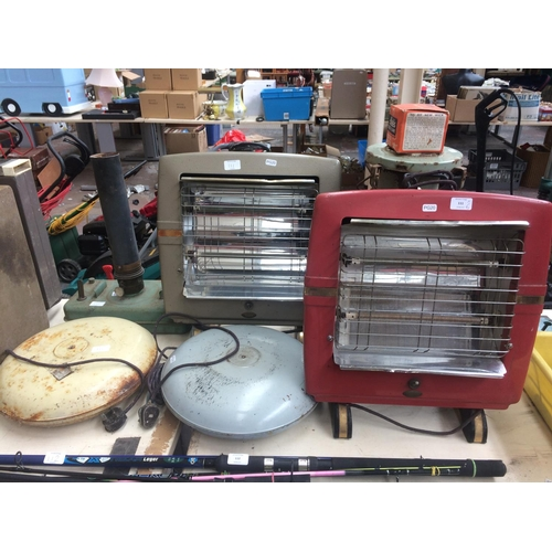 111 - SIX ITEMS TO INCLUDE TWO VINTAGE BELLING ELECTRIC FIRES, BELLING BED WARMERS, PARAFFIN HEATERS ETC...