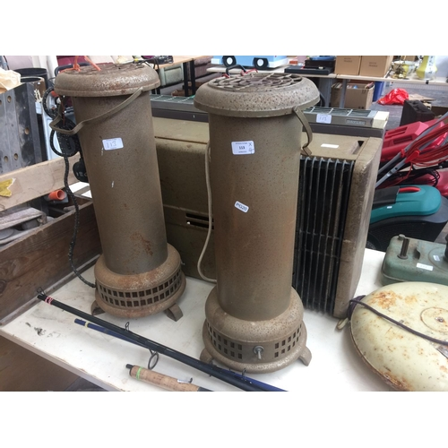 113 - FOUR ITEMS TO INCLUDE TWO VINTAGE PARAFFIN HEATERS, GAYLEC ELECTRIC HEATER AND ONE OTHER...