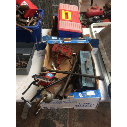 121 - TWO BOXES CONTAINING GREASE GUN, CAR BATTERY CHARGER, 6