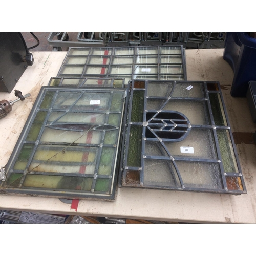 123 - A LARGE QUANTITY OF LEADED STAINED GLASS WINDOW PANES...