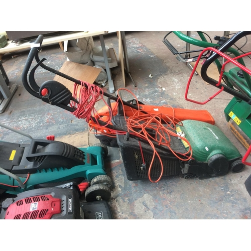 134 - TWO ELECTRIC GARDEN POWER TOOLS TO INCLUDE A GREEN QUALCAST ELAN 32 LAWN RAKER WITH GRASS COLLECTOR ...