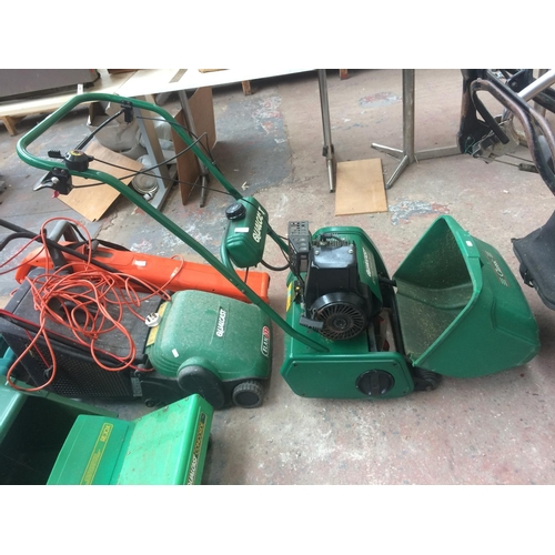 136 - A GREEN QUALCAST CLASSIC 35S PETROL LAWN MOWER WITH GRASS COLLECTOR...