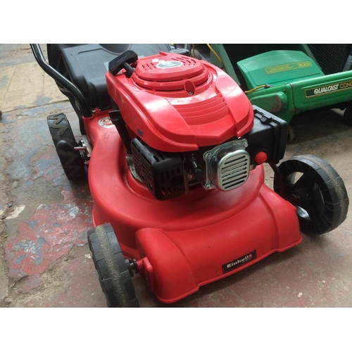 137 - A RED EINHELL PETROL LOW EMISSION SELF PROPELLED LAWN MOWER WITH SHARPENED BLADES AND GRASS COLLECTO...