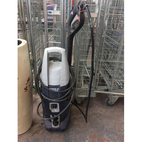 141 - A BLUE AND GREY MACALLISTER ELECTRIC PRESSURE WASHER WITH HOSE AND LANCE W/O...