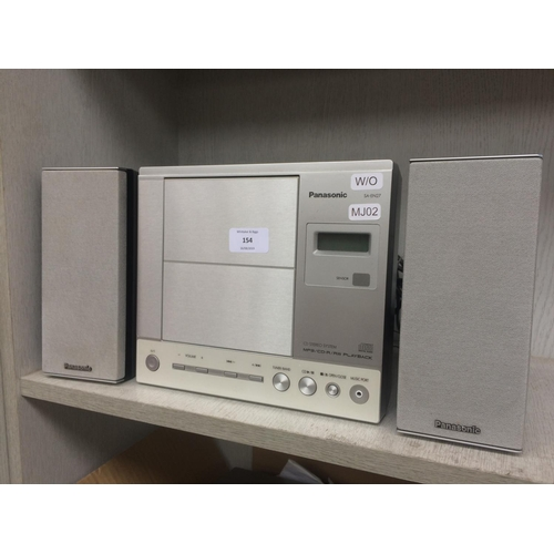 154 - A PANASONIC SA-EN27 CD STEREO SYSTEM WITH TWO MATCHING SPEAKERS W/O...