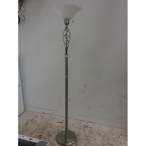 175 - A MODERN STAINLESS STEEL UPLIGHTING LAMP...