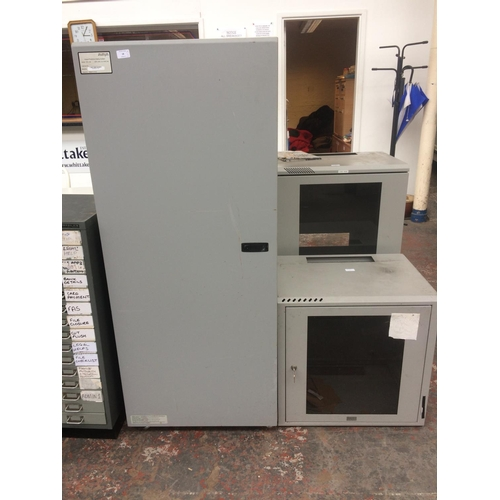 18 - THREE GOOD QUALITY GREY PAINTED METAL INDUSTRIAL OFFICE FILING CABINETS...