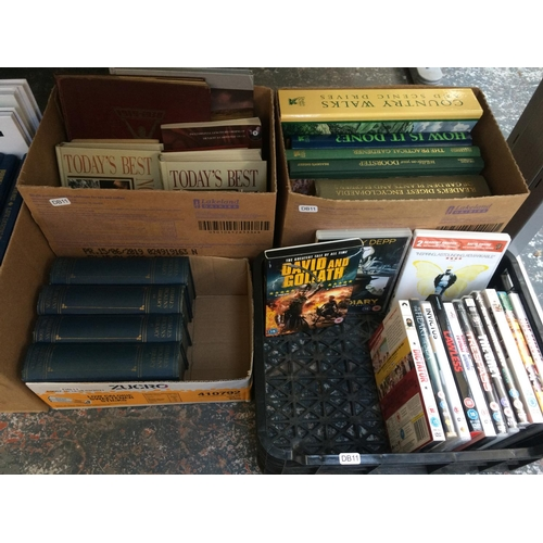262 - FIVE BOXES CONTAINING COLLECTABLE BOOKS AND A BOX CONTAINING MIXED DVD'S...