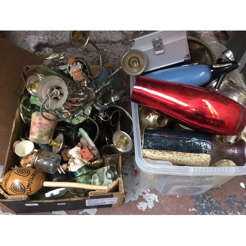 264 - TWO BOXES CONTAINING MIXED ITEMS TO INCLUDE GLASSWARE, CERAMICS, SILVER PLATED WARE, TABLE LAMPS ETC...