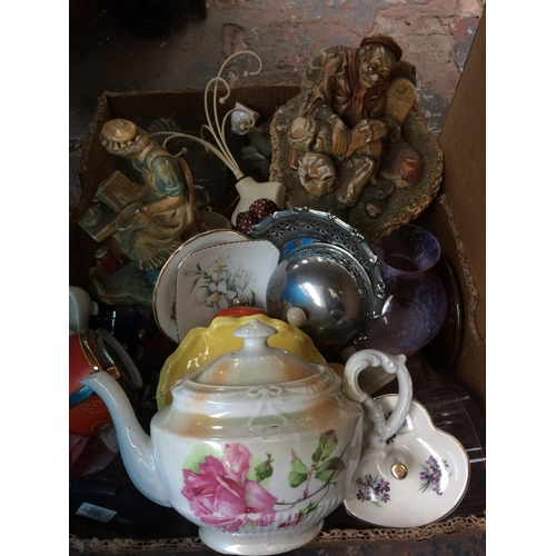 266 - SIX BOXES AND AN ORIGINAL LLOYD LOOM LUSTY GOLD PAINTED BASKET CONTAINING MIXED ITEMS TO INCLUDE BRA...