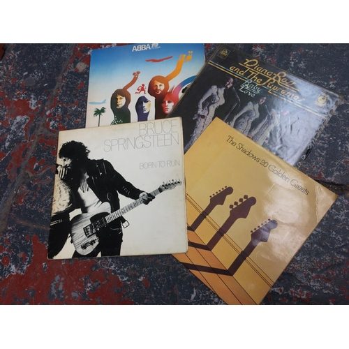267 - A BOX CONTAINING VARIOUS LP RECORDS TO INCLUDE BRUCE SPRINGSTEEN, THE SHADOWS, DIANA ROSS, ABBA ETC...
