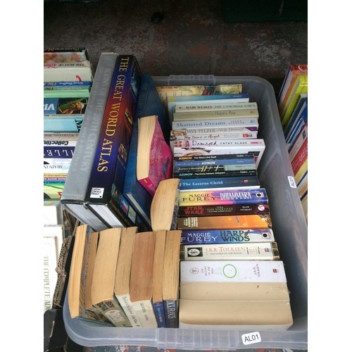 270 - FOUR BOXES CONTAINING VARIOUS BOOKS TO INCLUDE CHRONICLES OF NARNIA, THE WINDMILL, GARDENING BOOKS, ...