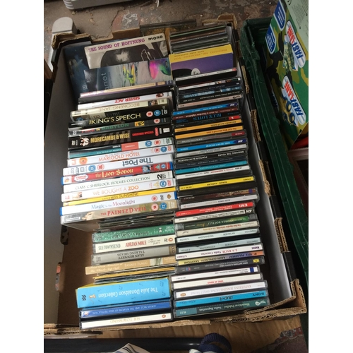 271 - TWO BOXES CONTAINING MIXED ITEMS TO INCLUDE DVDS, CDS, PICTURE FRAMES, TOYS ETC...