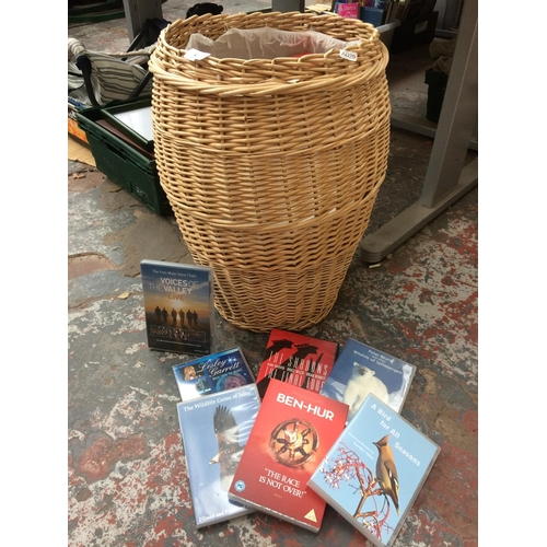 272 - A WICKER LAUNDRY BASKET CONTAINING VARIOUS DVD'S TO INCLUDE BEN HUR, THE SHADOWS, BIRDS FOR ALL SEAS...